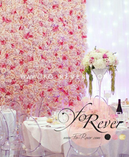 Mur de fleur mariage rose