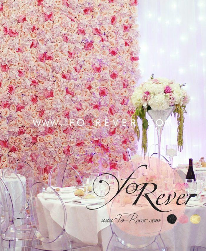 Mur de Fleurs Mariage Roses