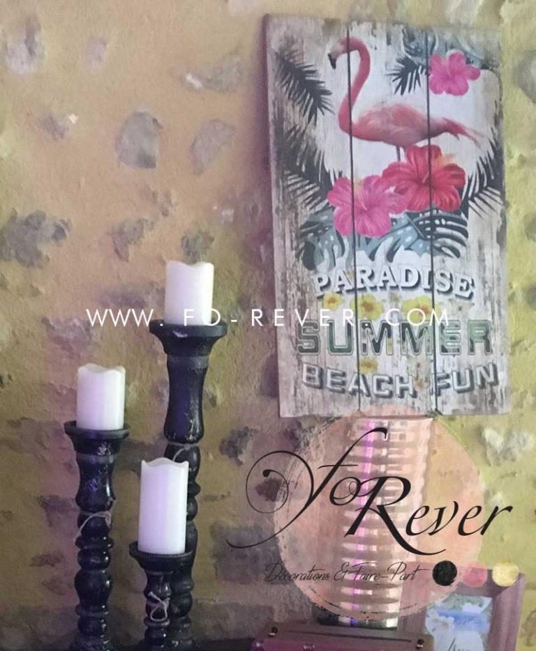 Panneau Vintage Flamant Rose