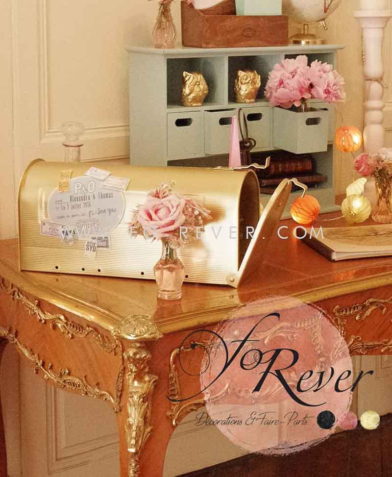 urne de mariage boite aux lettres dorée